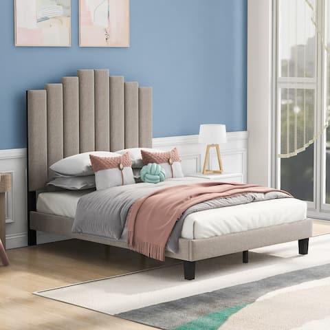 Queen Size Upholstered Platform Bed,No Box Spring Needed,Beige