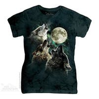 The Mountain Cotton Three Wolf Moon Design Novelty Womens T-Shirt