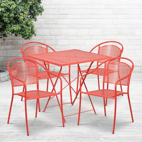 "28"" Square Coral Indoor-Outdoor Steel Folding Patio Table Set with 4 Chairs"