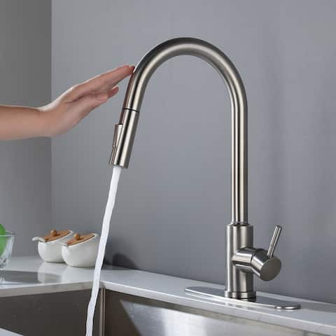 Touch Kitchen Faucet with Pull Down Sprayer, Brushed Nickel High Arc Single Handle Smart Touch Pull Out Sprayer, Stainless Steel