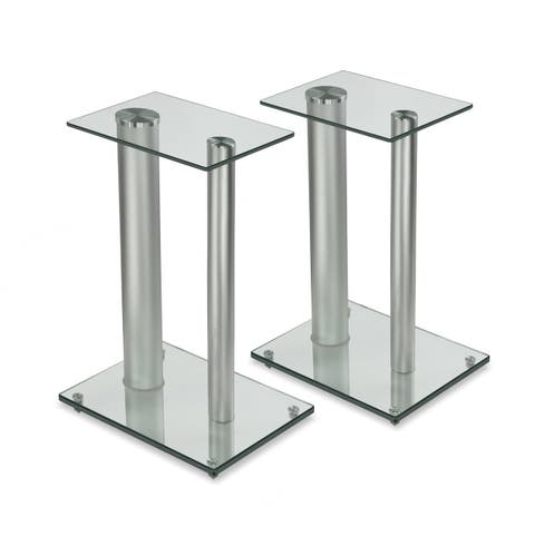 "Mount-It! Speaker Floor Stands for Surround Sound Home Theaters 18"" High 22 Lbs Capacity Clear and Silver One Pair (MI-28S)"
