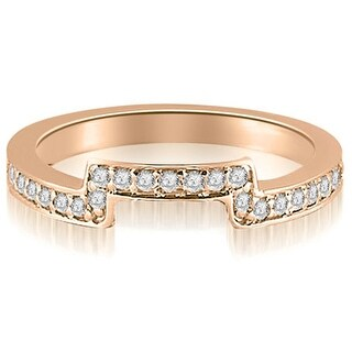 0.25 cttw. 14K Rose Gold Round Cut Diamond Curve Wedding Band (Option: 3)