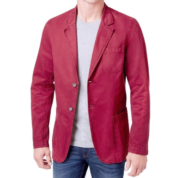 WEATHERPROOF NEW Tandoori Red Mens Small S Two Button Over Dyed Blazer