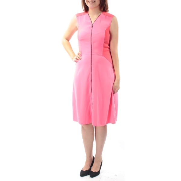 0ea66af5 Shop TAHARI Womens Coral Zippered Sleeveless V Neck Knee Length Fit + Flare Dress  Size: 6 - On Sale - Free Shipping On Orders Over $45 - Overstock - ...