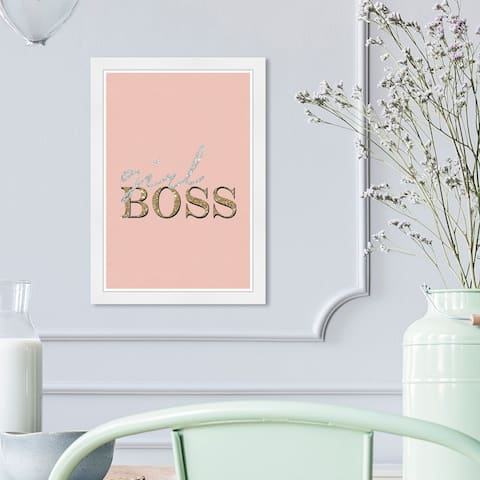 Wynwood Studio 'Blush Girl Boss' Typography and Quotes Wall Art Framed Print Empowered Women Quotes and Sayings - Pink, Gold