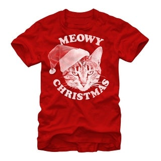 Meowy Christmas Shirt Holiday Santa Cat Red Mens