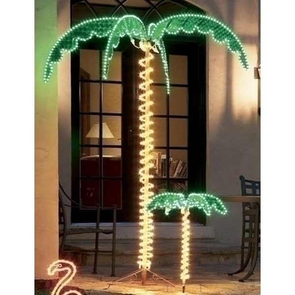 7' Tropical Lighted Holographic Rope Light Outdoor Palm Tree - Green