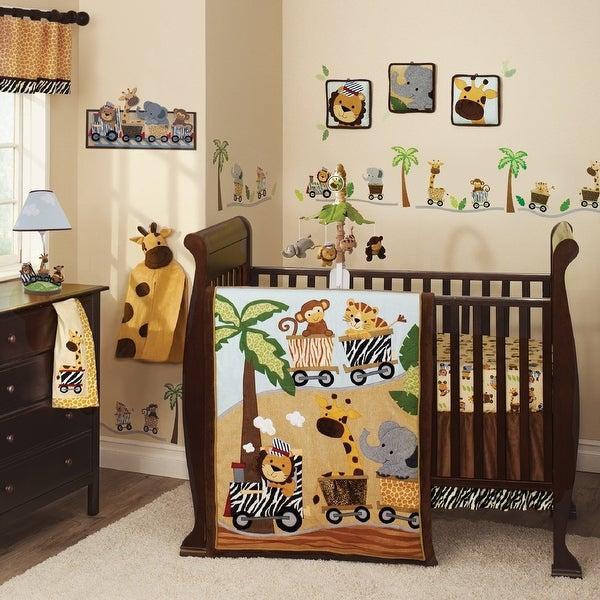 Lambs & Ivy Safari Express Brown/Beige Animal Train 9-Piece Baby Nursery Crib Bedding Set