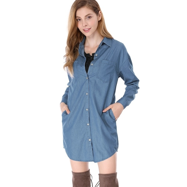 Allegra K Women Drop Shoulder Long Sleeves Loose Button Closure Shirt Dress - Blue
