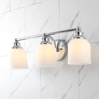 Link to Lydia Light Iron/Frosted Glass Farmhouse Cottage LED Vanity Light, Chrome by Jonathan  Y Similar Items in Sconces