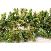 Christmas at Winterland WL-GARBM-09-LPW 9 Foot Pre-Lit Pure White LED Blended Pine Garland Indoor / Outdoor - Pure White