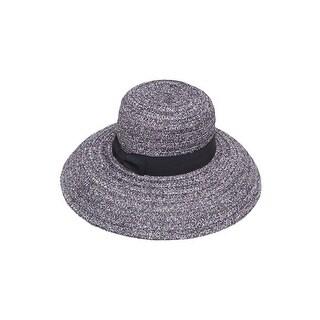 Womens Striped Straw Wide Brim Bucket Hat