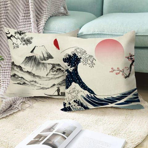 "Lovely Japanese Ukiyo In Vintage Print Decorative Throw Pillow For Couch, Bedroom, Sofa 18""x18"""