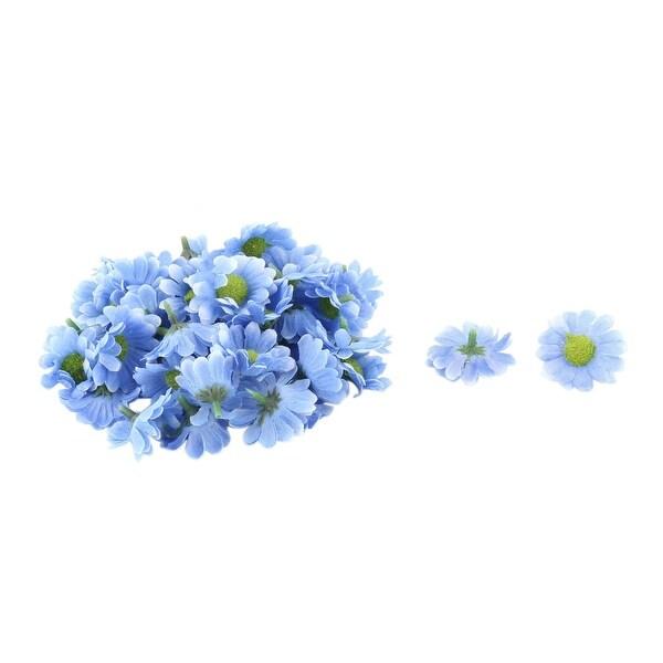 Bride Wedding Fabric Artificial Flower Heads Headband Garland Decor Blue 50pcs