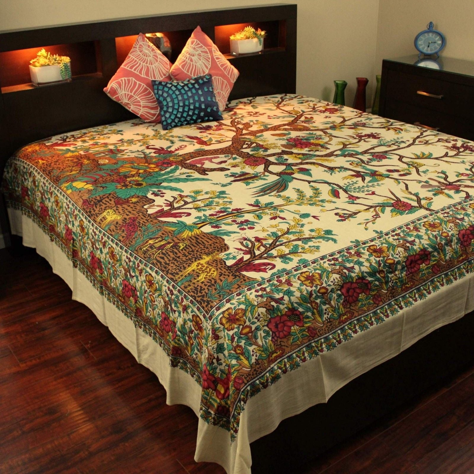 Cotton Tree of Life Tapestry Wall Hanging Tablecloth Thin Bedspread Coverlet Thin Beach Sheet Tan Twin Full Queen & King - Thumbnail 0