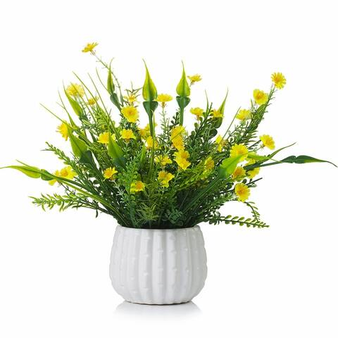 Enova Home Mixed Artificial Silk Mini Sunflowers Fake Flowers Arrangement in White Ceramic Pot for Home Office Decoration