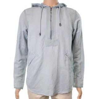 INC NEW Blue Lightning Men Size Small S 1/2 Zip Linen Two-Pocket Hoodie
