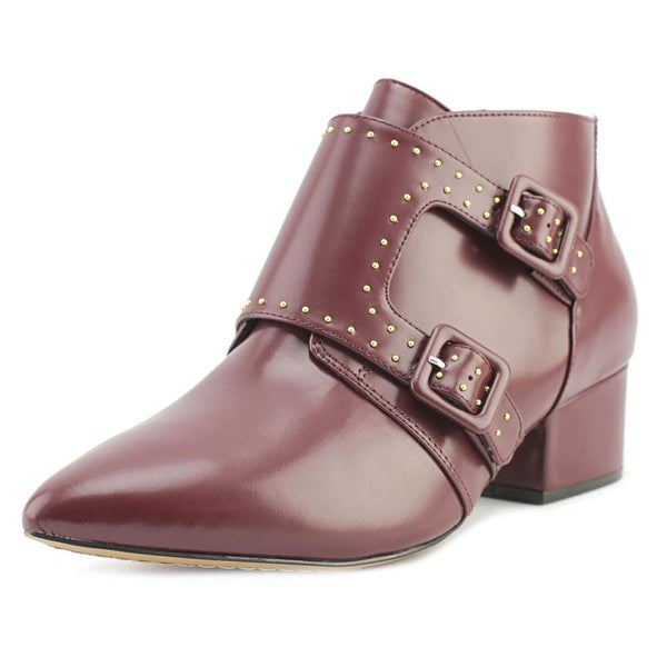 French Connection Roree Women Pointed Toe Leather Burgundy Bootie
