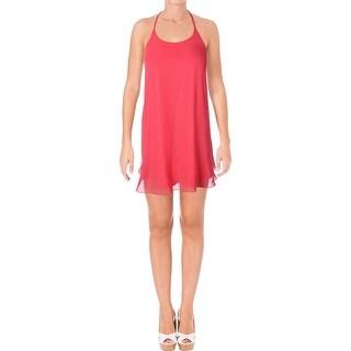 Aqua Womens Slip Dress Chiffon Braided Back