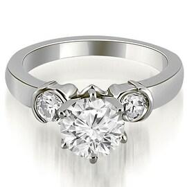 1.00 cttw. 14K White Gold Half Bezel Round Cut Diamond Engagement Ring