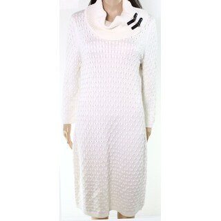 Calvin Klein NEW Ivory Womens Size Small S Cowl Neck Knit Sweater Dress