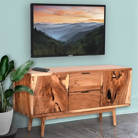 Roma Live Edge Suar Wood Cabinet with 2 doors/2 drawers