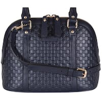 "Gucci 449654 Micro GG Dark Blue Leather Convertible Mini Dome Purse - 9"" x 7.5"" x 4"""