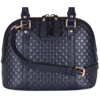 """Gucci 449654 Micro GG Dark Blue Leather Convertible Mini Dome Purse - 9"""" x 7.5"""" x 4"""""""