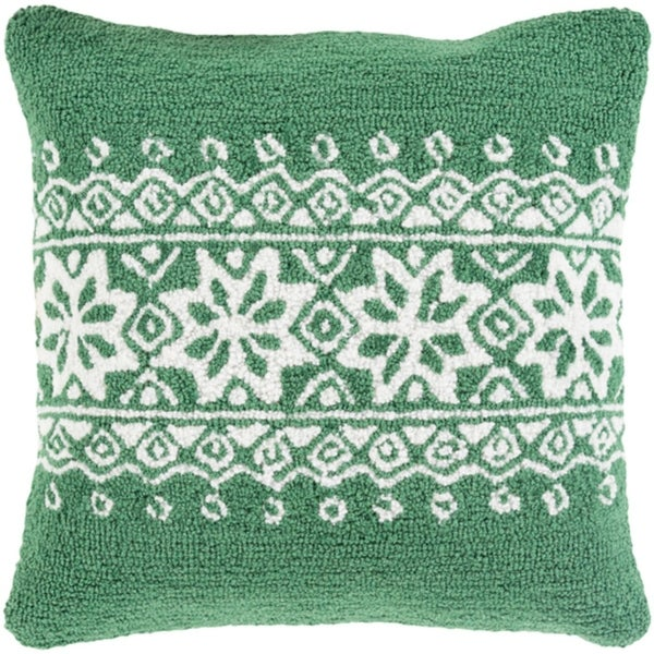 """18"""" Tree Green and Snowy White Decorative Snowflake Christmas Throw Pillow Cover"""