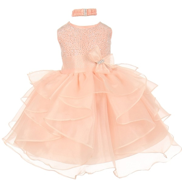 Baby Girls Peach Organza Rhinestuds Bow Sash Flower Girl Dress 6-24M