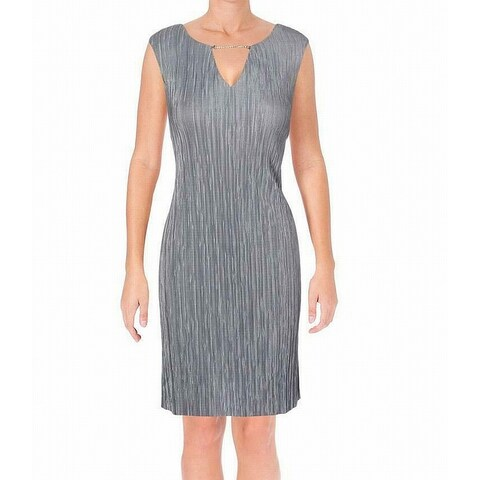 Connected Apparel Gray Women's 12 Embellished Keyhole Shift Dress