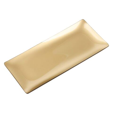 "13.5"" Gold Rectangular Glass Serving Tray"