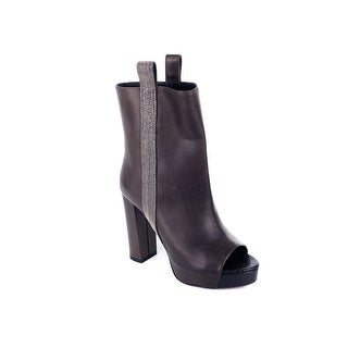 Brunello Cucinelli Brown Leather Peep Toe Monili Ankle Boot