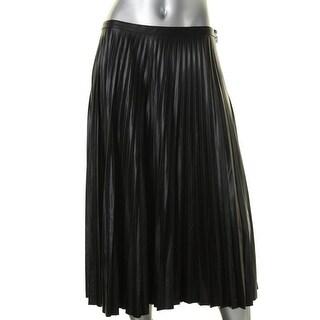 Lauren Ralph Lauren Womens Pleated Skirt Textured Long