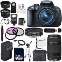 Canon EOS Rebel T5i 18 MP CMOS Digital SLR Camera f/3.5-5.6 Lens International Model + EF 40mm Lens Bundle