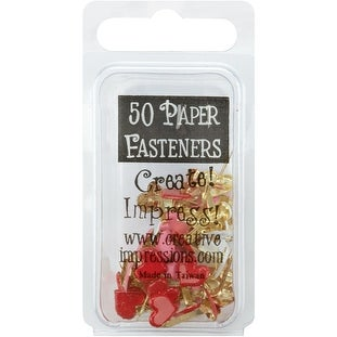 Painted Metal Paper Fasteners 50/Pkg-Hearts - Red, White & Pink - Red