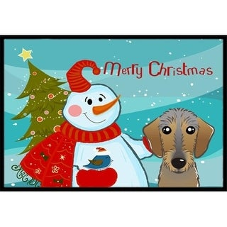 Carolines Treasures BB1853JMAT Snowman With Wirehaired Dachshund Indoor & Outdoor Mat 24 x 36 in.