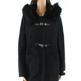 Calvin Klein NEW Black Womens Size Small S Buckle-Front Faux Fur Jacket