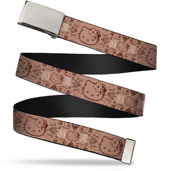 Blank Chrome Bo Buckle Hello Kitty Multi Face Hibiscus Tan Brown Web Belt