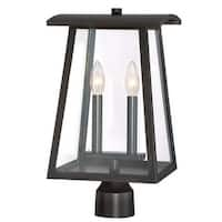 """Designers Fountain 22636-BNB Calderwood 2-Light 16"""" Tall Outdoor Post Light with Clear Glass Shade - Burnished Bronze - n/a"""