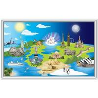 """Pack of 6 Window To The World Insta-View International Theme Wall Decoration 62"""" - Blue"""