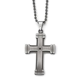 Chisel Stainless Steel Antiqued Polished and Brushed CZ Cross Necklace - 22 in