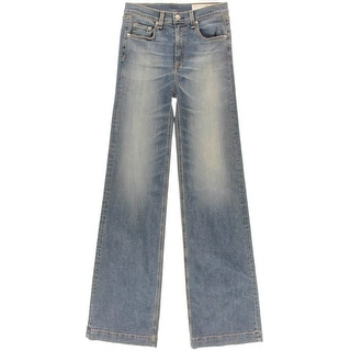 Rag & Bone Womens Justine Classic Rise Sandblasted Wide Leg Jeans
