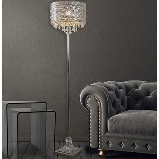 Silver Orchid Teje 60.4-inch Polished Nickel & Crystal 1-light Floor Lamp
