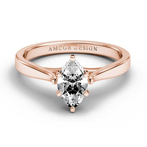 14KT Gold 3/8 Carat Diamond Engagement Ring Marquise Prong Solitaire