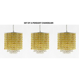 "Modern Contemporary Mini Pendant Chandelier Lighting Geometrics Quantum H 9"" X W 6"" - Dressed with Topaz Color Crystal!"