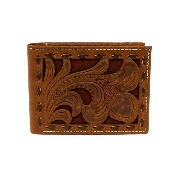 Nocona Western Wallet Mens Bifold Buck Lace Edges Chocolate - One size