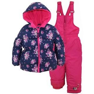 Pink Platinum Girls Snowsuit Floral Printed Winter Puffer Jacket Ski Bib