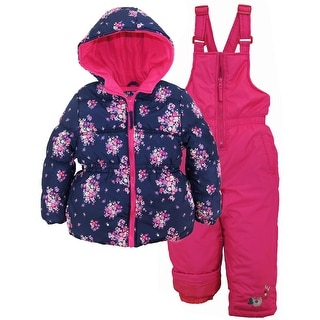 Pink Platinum Toddler Girls Snowsuit Floral Printed Winter Puffer Jacket Ski Bib