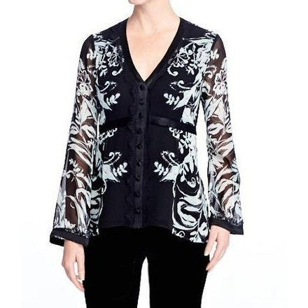 47c013f8 Shop Nanette Lepore NEW Black Women's Size 0 Floral Button Down Shirt -  Free Shipping Today - Overstock - 20466895